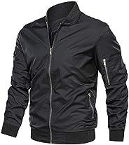 TACVASEN Men's Jacket-Lightweight Casual Spring Fall Flight Bomber Zip Pockets Coat Out