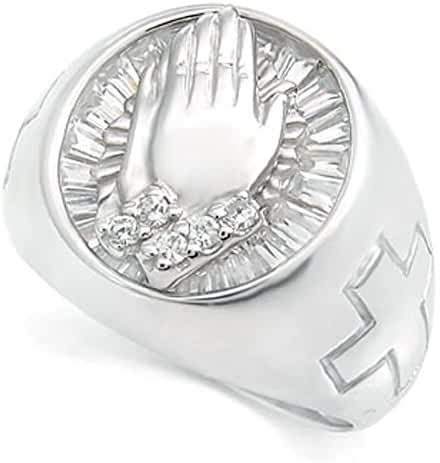 Faith Praying Hands Sterling Silver Cubic Zirconia CZ Men Ring 5-14