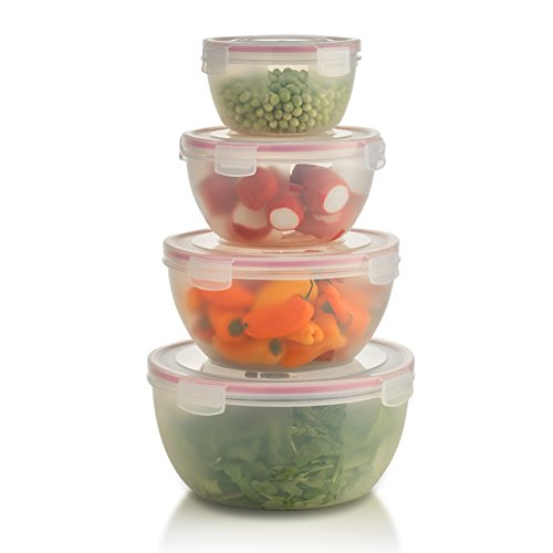 Komax Biokips Round - Nestable - Mixing and Prep Bowls - Airtight Food Storage Containers (Set of 4) BPA-Free Plastic - with Locking Lids (Plastic Mixing Bowls Set compare prices)