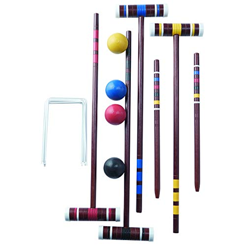 Franklin Sports Croquet Set - Includes 4 Croquet Wood Mallets, 4 All Weather Balls, 2 Wood Stakes and 9 Metal Wickets - Classic Family Outdoor Game - Starter Set