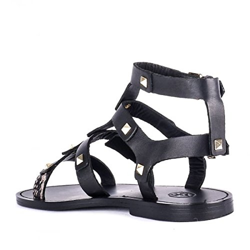Ash Zapatos Morocco Sandalias de Cuero, Mujer Negro/Roccia