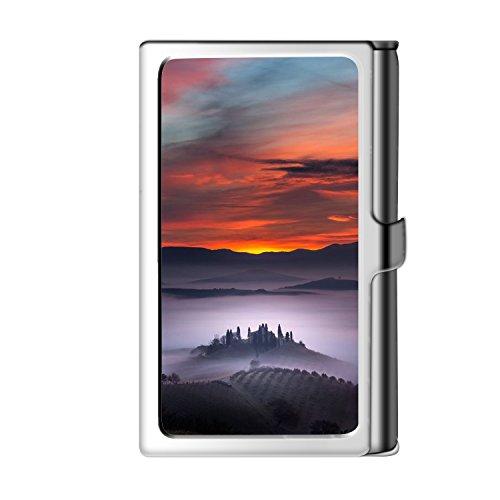 Design Sliver Business Card Holder, Metal Stainless Steel Name Wallet Credit Case For Men & - Female Sun Names