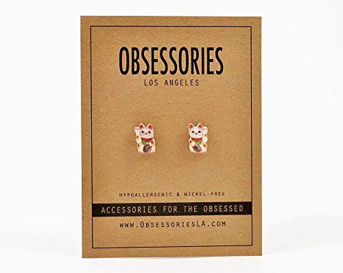 Handmade Lucky Cat Stud Earrings