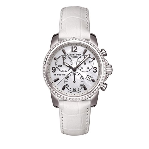 Certina Women's DS Podium 34mm White Leather Band Steel Case Quartz MOP Dial Watch C001.217.16.117.10