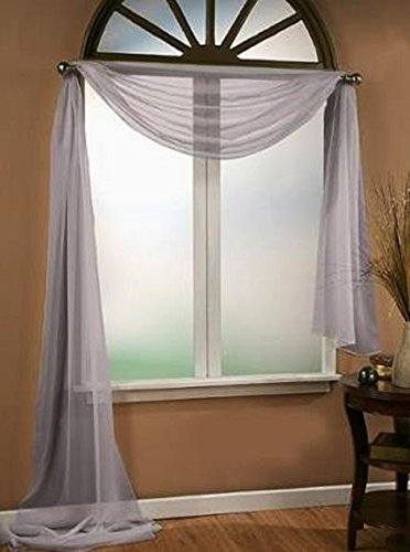 *Different Colors* 1 Swag For Table Chair Window Wall Church Decor Pole Fabric Size (6 YARD) 216 Inches Long (Gray ) (6 Yard Scarf Valance)