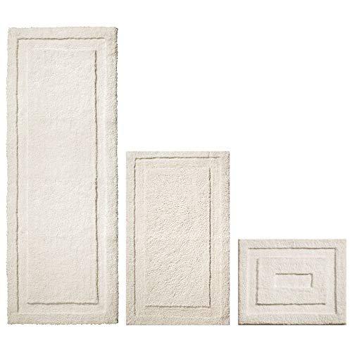 mDesign Soft Microfiber Non-Slip Bathroom Mat/Rug for Bathroom, Vanity, Bathtub/Shower, Dorm Room - Set of 3, Cream