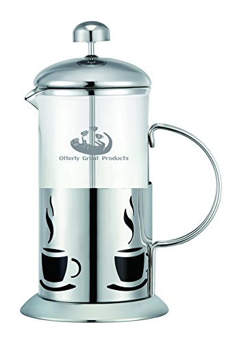 French Press Coffee Maker 1 liter 4 Cup, Quality Glass and Stainless Steel