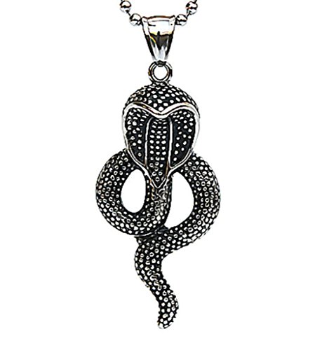 [Stainless Steel Mens Gothic Necklace Cobra Snake Black 5.22.4cm] (Cobra Staff Costumes Accessory)
