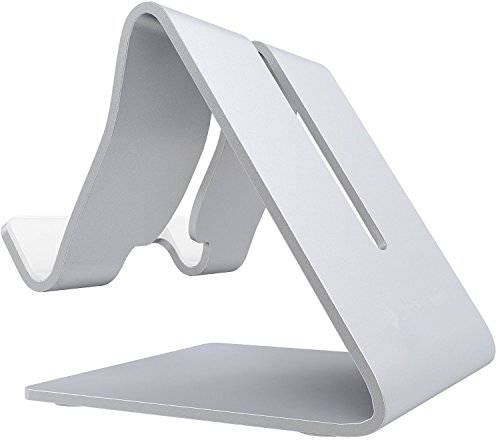 SAUS Stand Desktop Dock Cradle Station Bracket Holder Universal Mount for all Tablets Mobile Smartphone Cellular & eReader Devices (Brushed Aluminum)