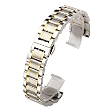 Top Plaza Silver & Gold 22mm Solid Stainless Steel Straight End Link Bracelet Wrist Watch Band Strap Replacement Double Push Spring Butterfly Deployment Clasp 3 Rows Metal Strap