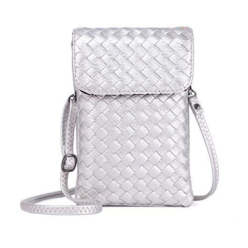 Zg Totally Hand Braided Vegan Leather Small Crossbody Bag Cell Phone Purse Wallet For Women Girls