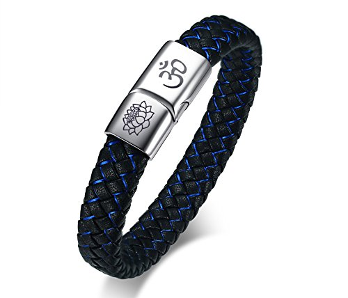 VNOX Blue Braided Leather Om Yoga Blossom with Stainless Steel Magnetic Clasp Cuff Wristband Bracelet,8.3""