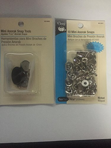 Dritz Mini Anorak Snap Tools with 10 Mini Anorak Nickel Snaps 15/32