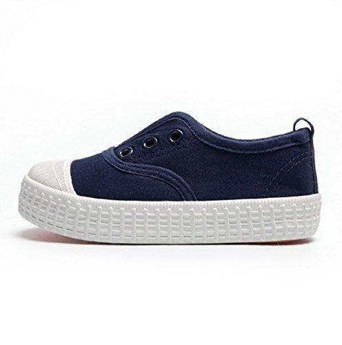 YC gut Jungen Mädchen Kinder Leinwand Schuhe-Sneakers, knöchelfrei Sneakers Unisex Schuhe Flach Pumpen, - dunkelblau - Größe: 36 EU