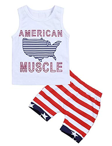 4th of July Toddler Baby Boy Outfits American Muscle Printed Vest Top+Shorts Independence Day Infant Clothes Set (White+1, 18-24 Months)
