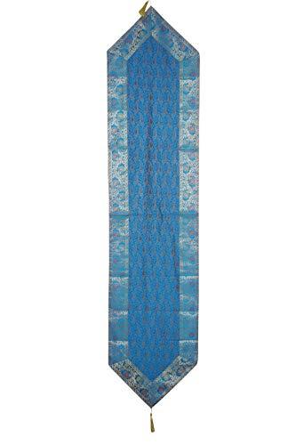 Mogul Interior Indian Hand Art Floral Blue Design Varanasi Silk Sari Table Runner 72x16 ()
