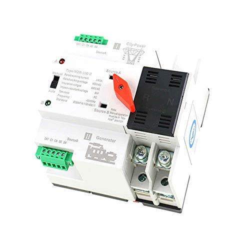 GAEYAELE W2R Mini ATS 2P Automatic Transfer Switch Electrical Selector Switches Dual Power Switch Din Rail Type ATS 63A 100A (W2R 2P ()