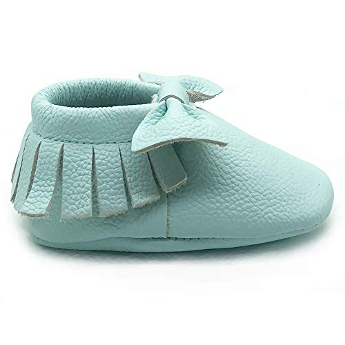 Owlowla Baby Moccasins Leather Soft Sole Newborn Crib Shoes for Boys and Girls(Cool Mint Bow,US5.5) ()