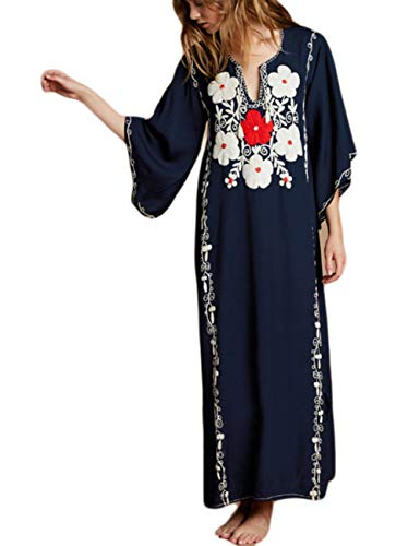 V Neck Beach Dress Swimsuit Cover Up Women Swimwear Long Turkish Kaftan Caftan Navy Blue ()