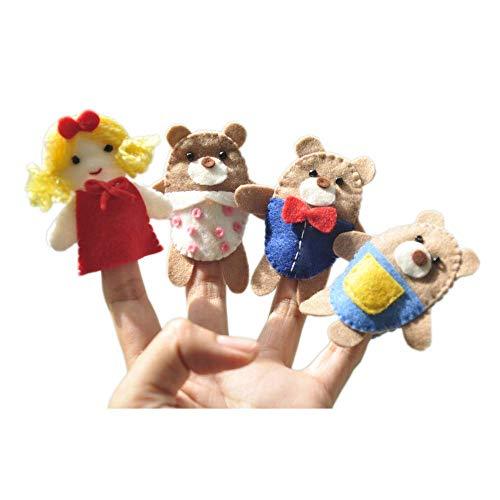 Goldilocks and the Three Bears finger puppet set 4 pcs - Felt Puppet by Latin Handmade.