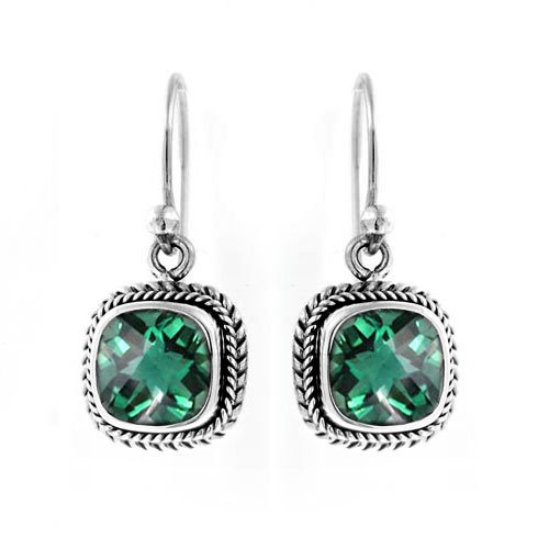 Bali Sterling Silver Fashion Earrings - Sterling Silver Earring With Green Quartz NKLE-001-GQ