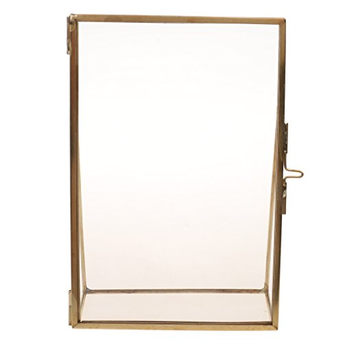 Dovewill Antique Brass Glass Picture Photo Frame Portrait Free Stand 3.5 x 5 in