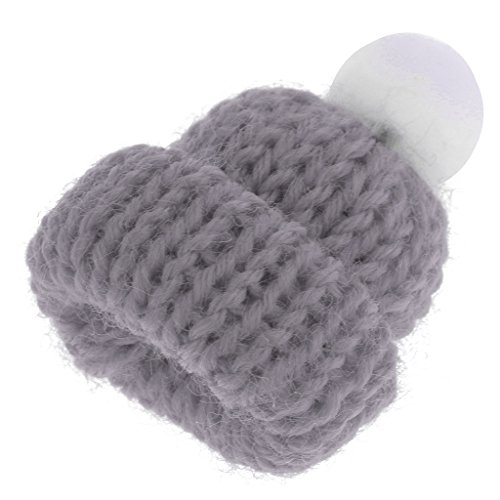 (Baoblaze 1:12 Gray Knitted Beanie Hat Cap Dolls House Miniature Clothing Accessory)