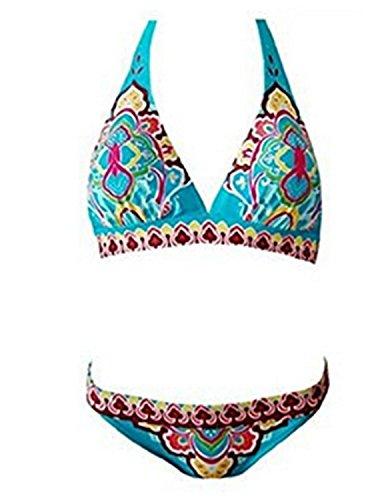 YOGLY Bañadores Bikinis de Floral de las Mujeres de de Impresión Totem Empuja Hacia Arriba Atractivo de Baño Bikini Azul