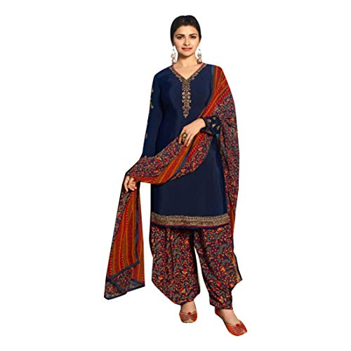 Punjabi Ethnic Printed Casual wear Crepe Patiala Salwar Kameez Suit Indian Women dress 7489