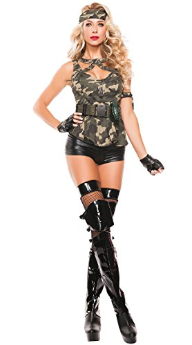 Army Outfit Halloween (PINSE Halloween Six-Piece Special Forces Hottie costume (M))