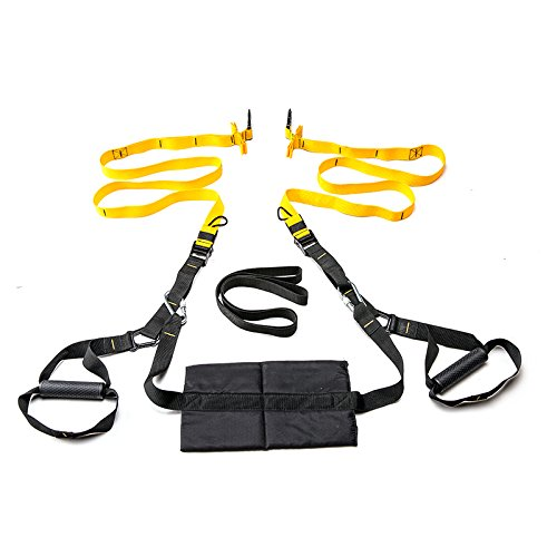 HAYU Fitness Straps Kit two hanging points Full Body Resistance Exercise Trainer Set Home Gyms Yoga Pilates Core training StretchingTravel Outdoors Strength Door Anchor and Carry Pouch by HAYU