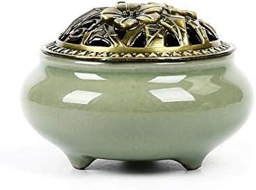 セラミック香炉ポータブル磁器香炉仏教香ホルダーホームティーハウスヨガスタジオ+ 20ピース香-H