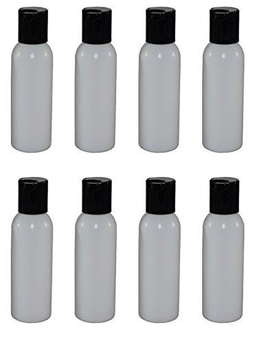 3 Ounce Plastic Bottles - 2-oz Refillable Bottle with Disc Cap (8 Pack, Black)