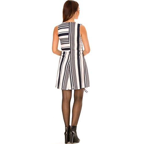 Miss Wear Line - Robe asymétrique à rayures marine et blanc avec col v