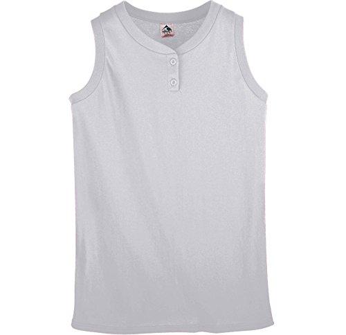 (Augusta Sportswear Girls' SLEEVELESS TWO-BUTTON SOFTBALL JERSEY M Athletic Heather)