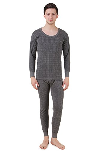 HAP Kings Quilted Thermal Set: Round Neck Top + Trouser  Dark Grey / Body Warmer/Cosy Winter Innerwear