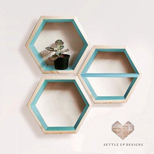 Amazon Com Set Of 3 12 Hexagon Floating Shelves Large 2 Standard