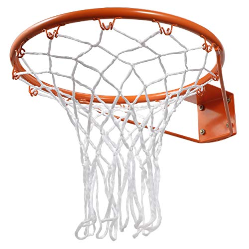ZENY Steel Basketball Rim Goal Replacement with All Weather Net Wall Door Mounted Basketball Hoop 18 Inch Indoor Outdoor Hanging Basketball Goal,Standard Rim