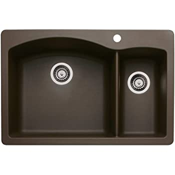 Blanco 440197 Diamond 1-1/2 Bowl Silgranit II Sink, Café Brown ...