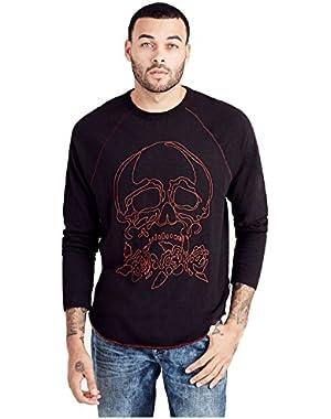 Men's Skull Raglan Long Sleeve Tee T-Shirt in Black