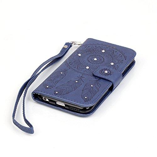 Voguecase® für Apple iPhone 6/6S 4,7 hülle, Kunstleder Tasche PU Schutzhülle Tasche Leder Brieftasche Hülle Case Cover (Diamant/Campanula Blume/Dunkelblau) + Gratis Universal Eingabestift