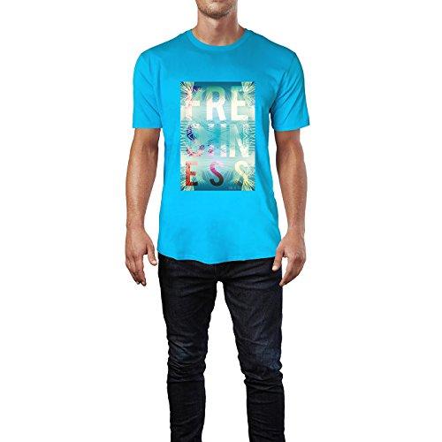 SINUS ART® Exotischer Sommer Print Freshness Herren T-Shirts in Karibik blau Cooles Fun Shirt mit tollen Aufdruck