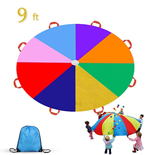 Gimilife 9ft Parachute for Kids, Play Parachute 8 Handles,Multicolored Parachute Toy Indoor,Outdoor Kids Parachute Cooperative Games for Girl Boy Toddlers Birthday Gift(L)]()