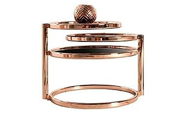 Dunord Design Beistelltisch Couchtisch Glas Kupfer Plate 3 Art Deco