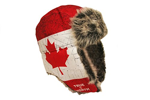 TRUE NORTH Canada Country Flag Adult Trapper Furry Winter Hat .. New