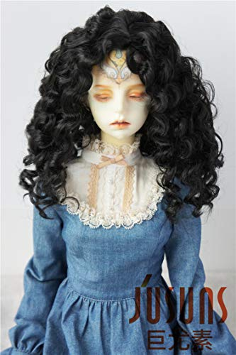 JD073 Long Mid Parting Curly BJD Doll Wigs Synthetic Mohair Doll Accessories (Black, 8-9inch)