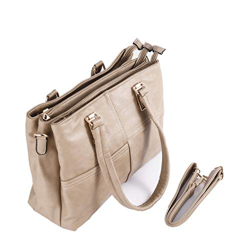 Mentor Bag - Mentor 9632 Womens Purse and Handbags Ladies Designer Shoulder Bag PU Leather Top Handle Satchel Handbags Tote Messenger Bags (Khaki)