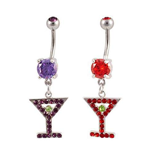 - Monster Steel Solitaire Martini Glass & Olive Dangle Belly Ring Red