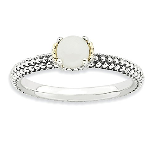 ICE CARATS 925 Sterling Silver 14k White Agate Band Ring Size 10.00 Stone Stackable Gemstone Natural Fine Jewelry Gift Set For Women (14k Agate Jewelry Set)