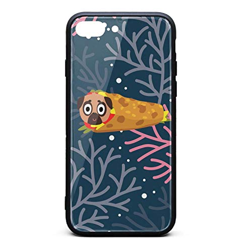 (Cute Pug Dog Taco Funny Dog Phone Case for iPhone 7 Plus, iPhone 8 Plus, Slim Protection Art Line Design Cell Phone Protective Case)